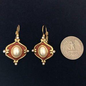 Retro GoldTone Copper Enamel & Pearls Earrings